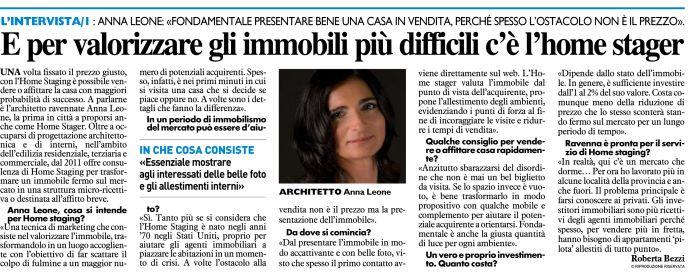 Anna Leone Architetto Home Stager Intervista Il Resto del Carlino Ravenna